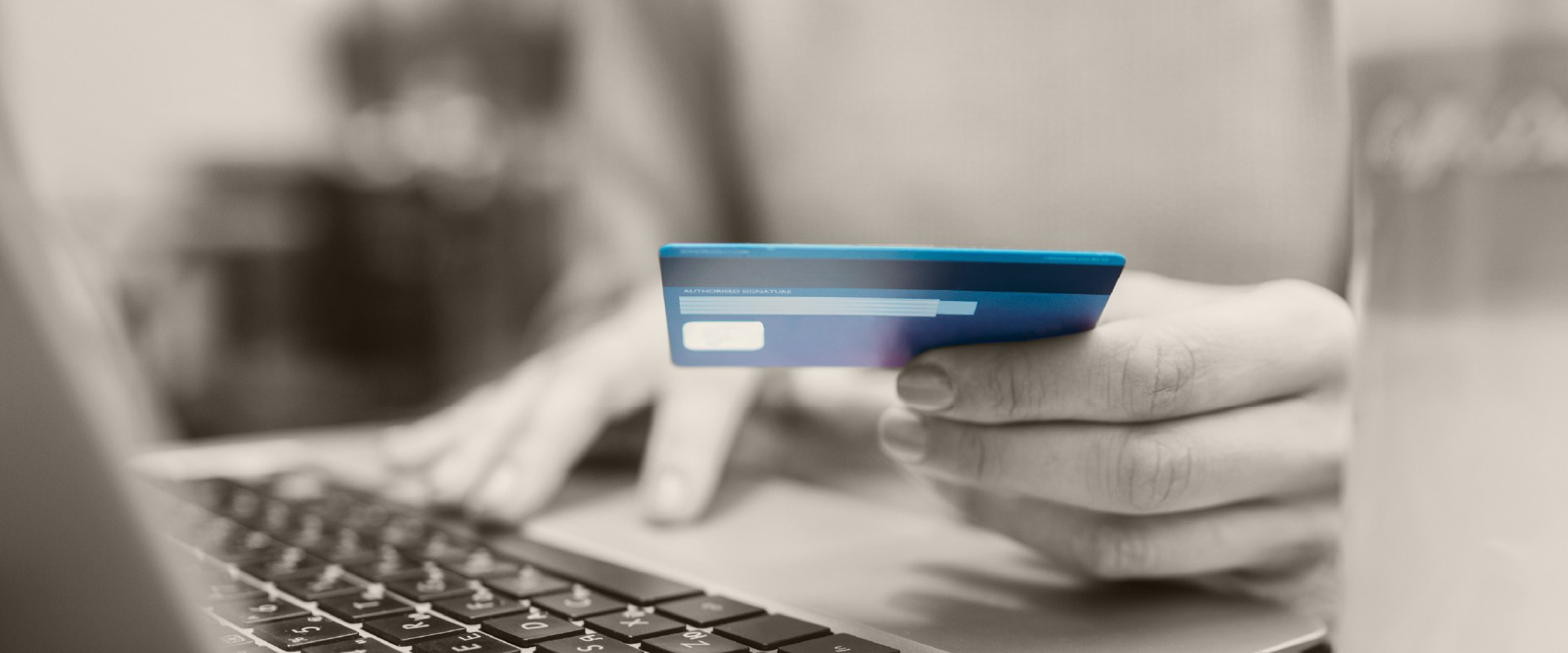 Person using credit card to make a payment online