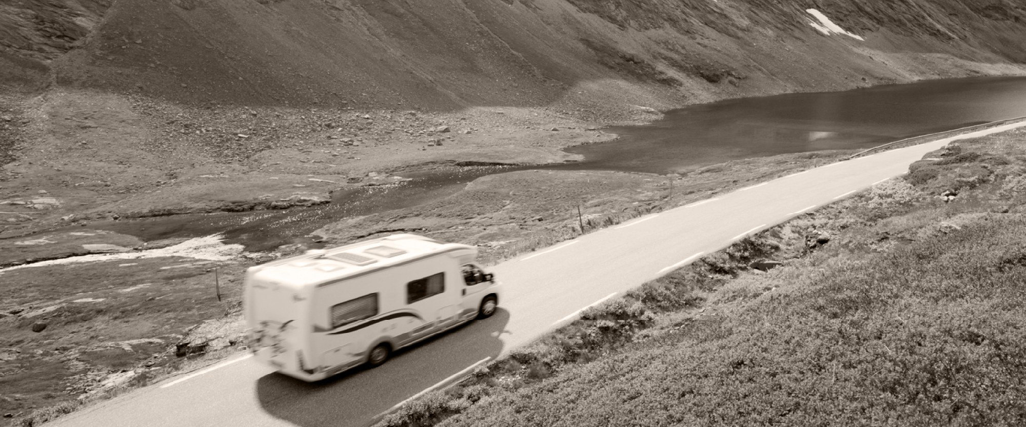 rv driving on an open highway